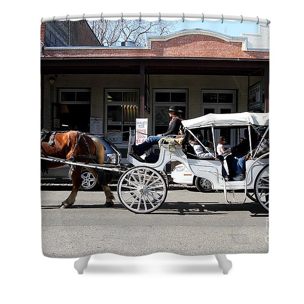 Old Sacramento California . Horse Drawn Buggy . 7D11482 Shower Curtain by Wingsdomain Art and Photography
