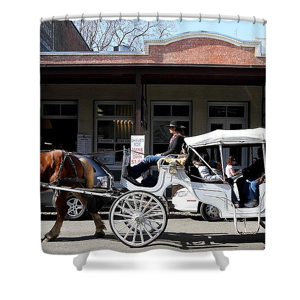 Old Sacramento California . Horse Drawn Buggy . Long Cut . 7D11482 Shower Curtain by Wingsdomain Art and Photography