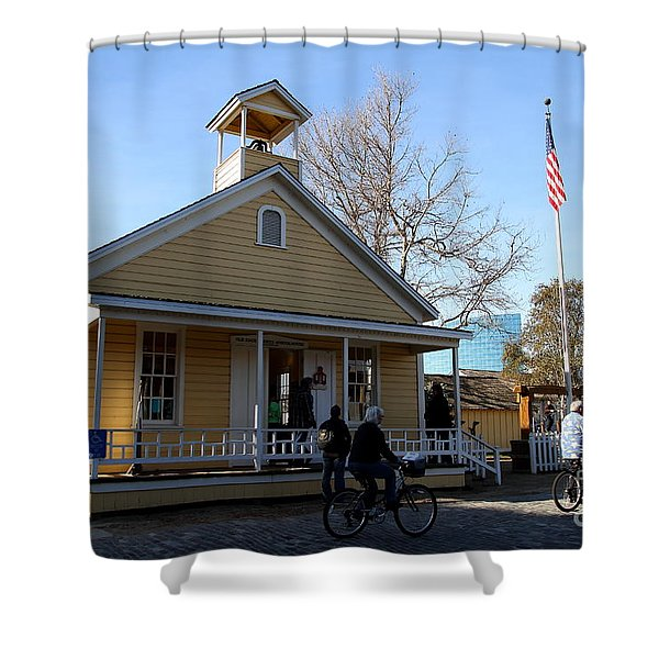 Old Sacramento California . Schoolhouse Museum . 7D11578 Shower Curtain by Wingsdomain Art and Photography