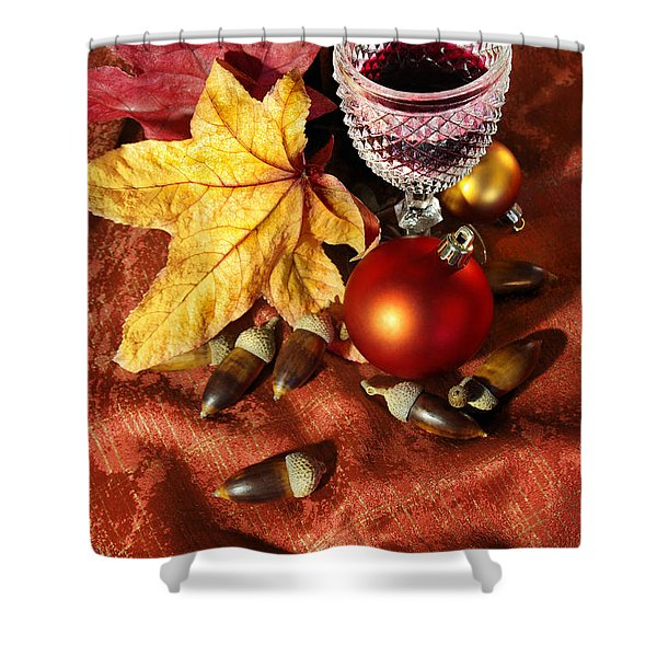Old Wine Glass Shower Curtain by Carlos Caetano