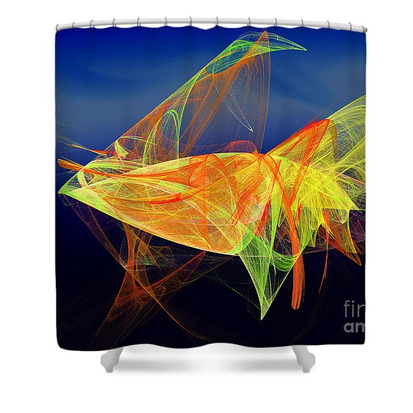 One Fish Rainbow Fish Shower Curtain by Andee Design