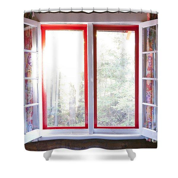 Open Window In Cottage Shower Curtain by Elena Elisseeva
