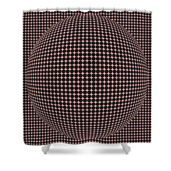 Optical Illusion Red Ball Shower Curtain by Sumit Mehndiratta