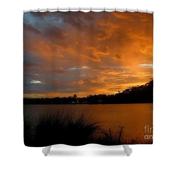 Orange Sunset Glow Shower Curtain by Kaye Menner