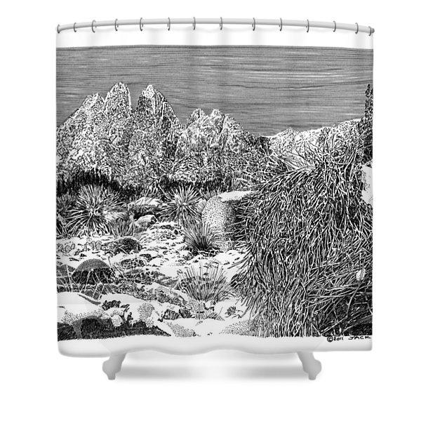 Organ Mountain Wintertime Shower Curtain by Jack Pumphrey