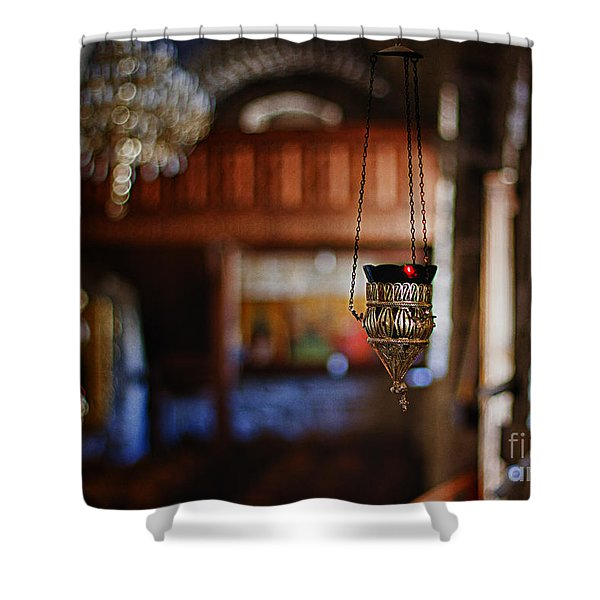 orthodox church oil candle Shower Curtain by Stylianos Kleanthous