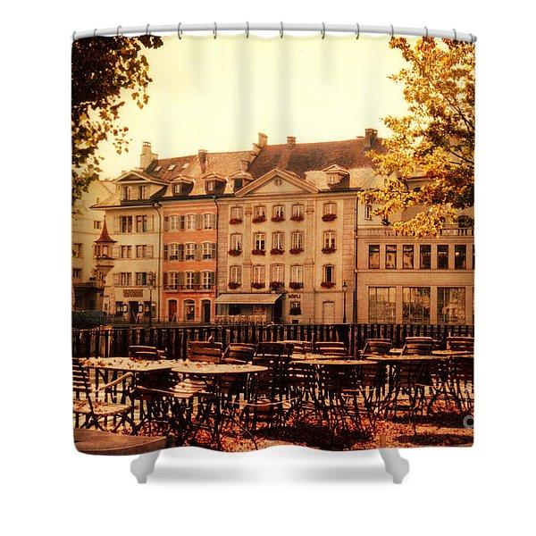 Outdoor Cafe in Lucerne Switzerland  Shower Curtain by Susanne Van Hulst
