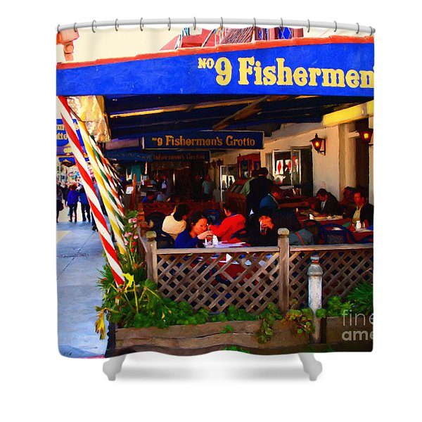 Outdoor Dining At The Fishermens Grotto Restaurant . Fisherman.s Wharf . San Francisco California Shower Curtain by Wingsdomain Art and Photography