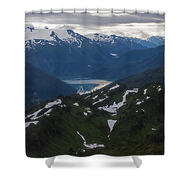 Over Alaska Shower Curtain by Mike Reid