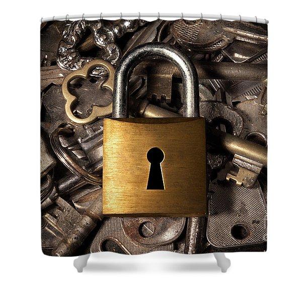 Padlock over keys Shower Curtain by Carlos Caetano