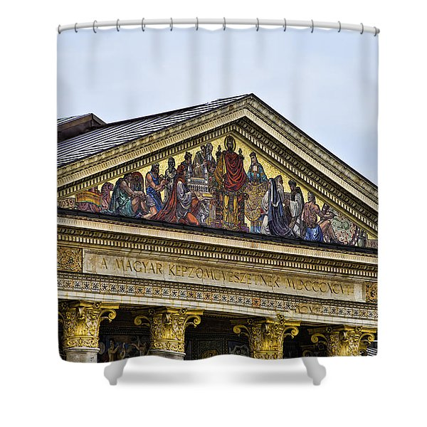 Palace Of Art - Heros Square - Budapest Shower Curtain by Jon Berghoff