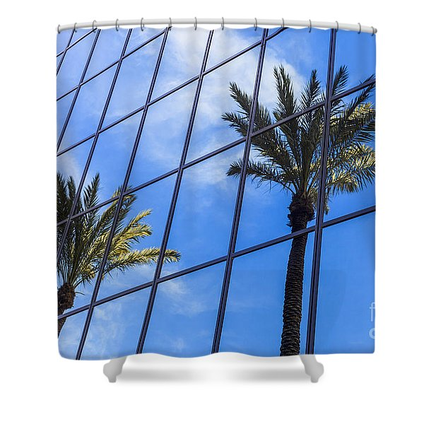 Palm Trees Reflection On Glass Office Building Shower Curtain by Paul Velgos