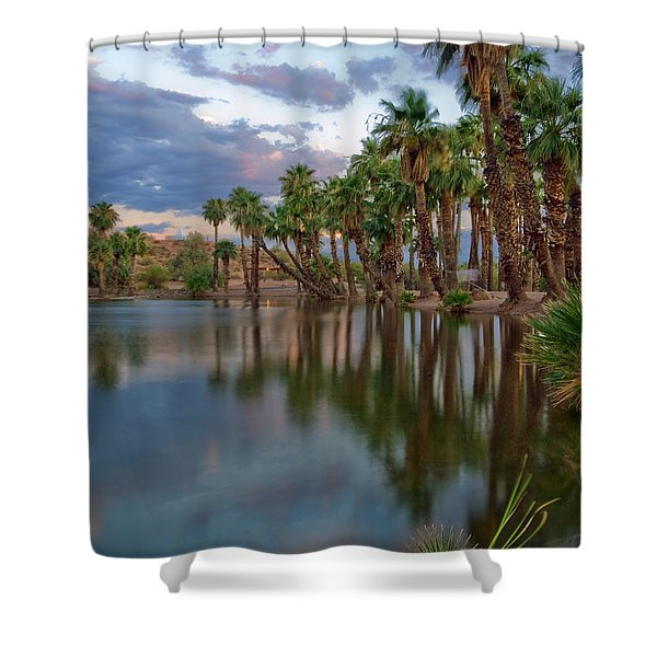 Palms Trees over Papago Lake Shower Curtain by Dave Dilli