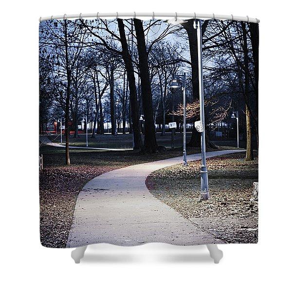 Park path at dusk Shower Curtain by Elena Elisseeva