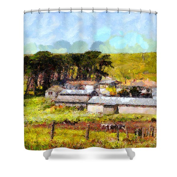 Pastoral Cattle Ranch Landscape  . 7d16047 Shower Curtain by Wingsdomain Art and Photography