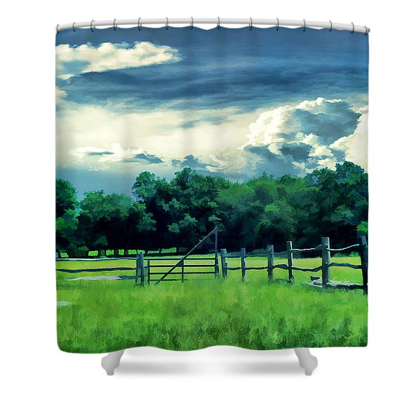 Pastoral Greenery Shower Curtain by Lourry Legarde