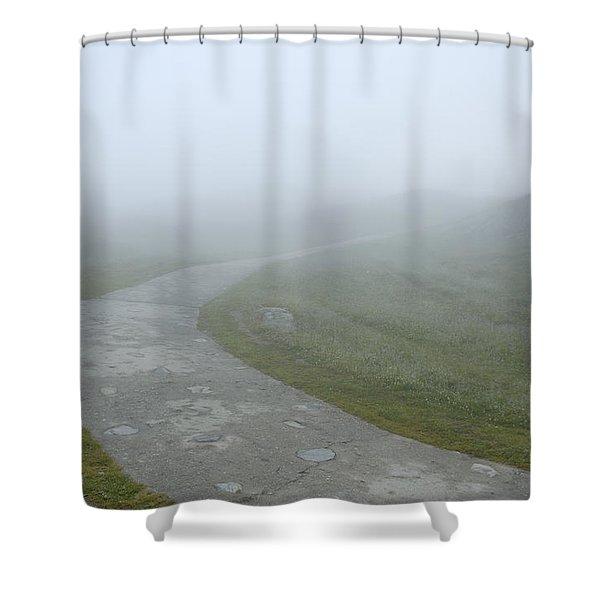 Path In The Fog Shower Curtain by Matthias Hauser