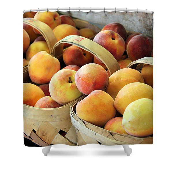 Peaches Shower Curtain by Kristin Elmquist