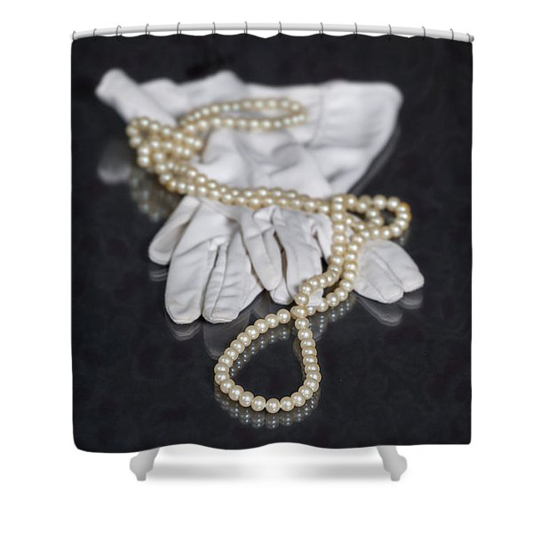 pearls and gloves Shower Curtain by Joana Kruse