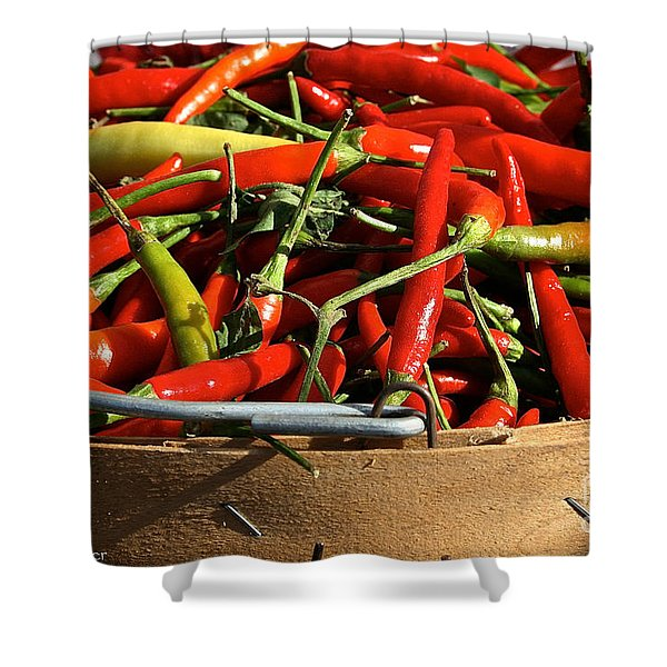 Peppers And More Peppers Shower Curtain by Susan Herber