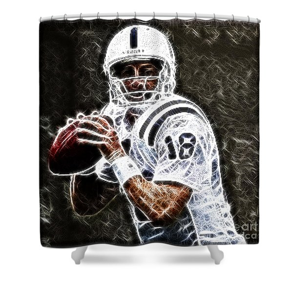 Peyton Manning 18 Shower Curtain by Paul Ward