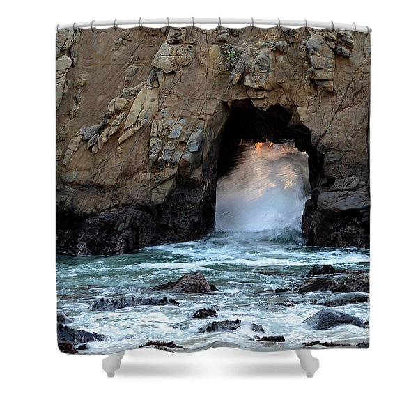 Pfeiffer Rock Big Sur 2 Shower Curtain by Bob Christopher
