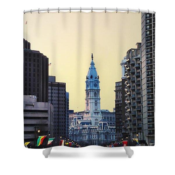 Philadelphia Cityhall At Dawn Shower Curtain by Bill Cannon
