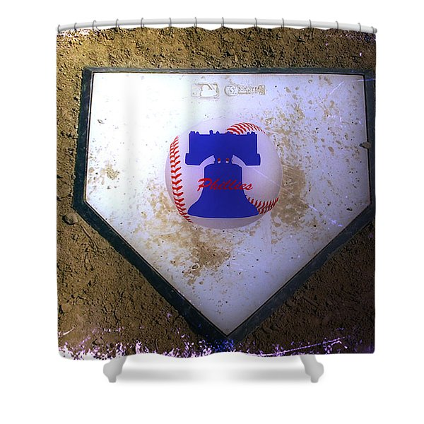 Phillies Home Plate Shower Curtain by Bill Cannon