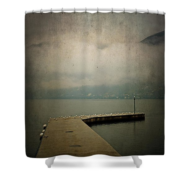Pier With Seagulls Shower Curtain by Joana Kruse