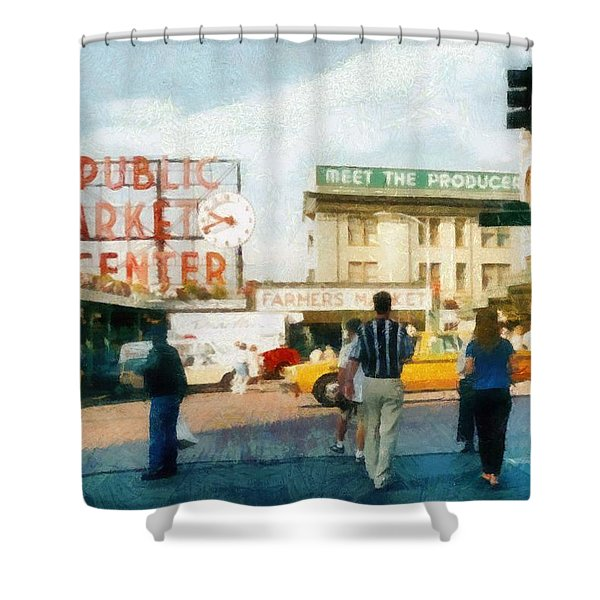 Pike Place Market Shower Curtain by Michelle Calkins
