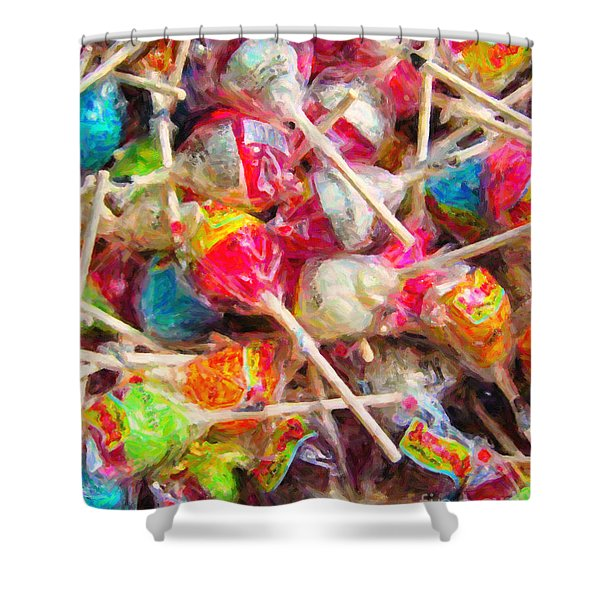 Pile of Lollipops - Painterly Shower Curtain by Wingsdomain Art and Photography