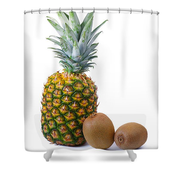 Pineapple and Kiwis Shower Curtain by Carlos Caetano