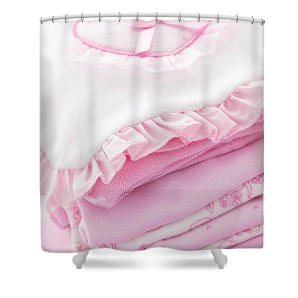 Pink baby clothes for infant girl Shower Curtain by Elena Elisseeva