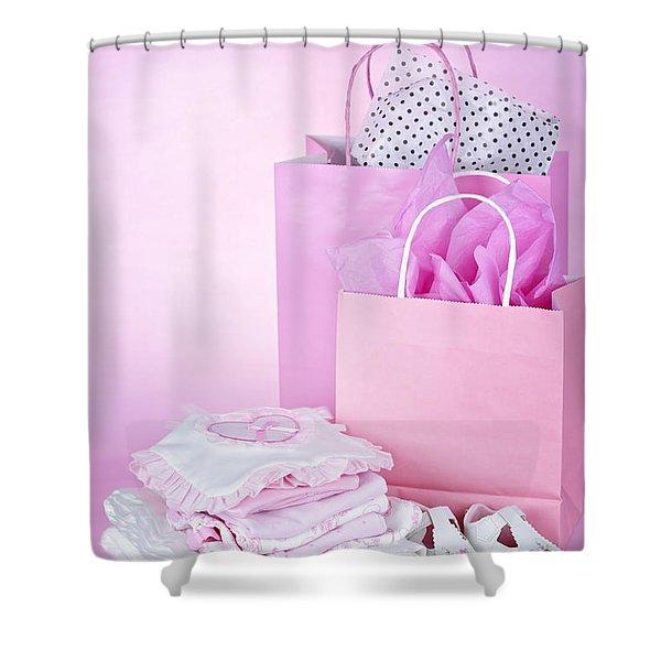 Pink baby shower presents Shower Curtain by Elena Elisseeva