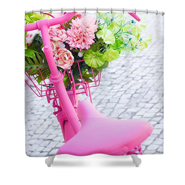 pink bicycle Shower Curtain by Carlos Caetano