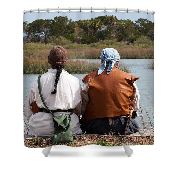 Pirate Couple Shower Curtain by Kenneth Albin