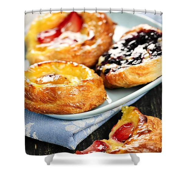 Plate Of Fruit Danishes Shower Curtain by Elena Elisseeva