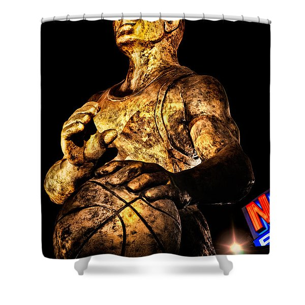Player In Bronze Shower Curtain by Christopher Holmes