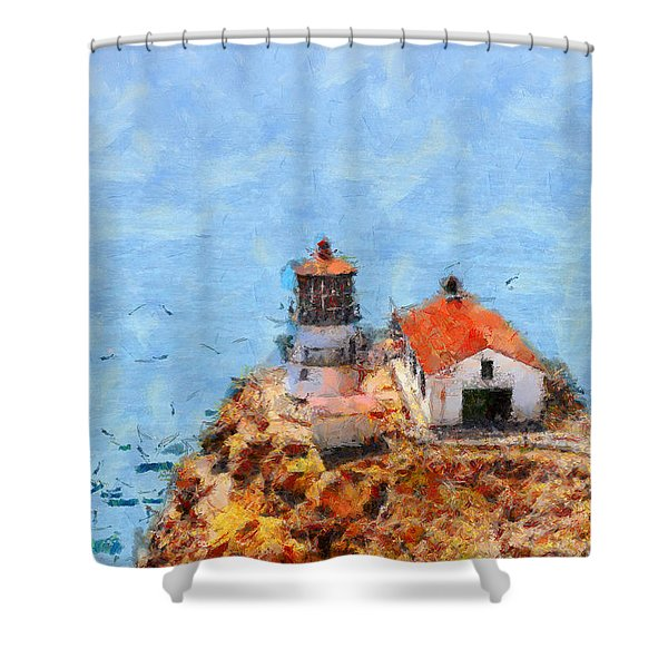 Point Reyes Lighthouse In California . 7d15989 Shower Curtain by Wingsdomain Art and Photography