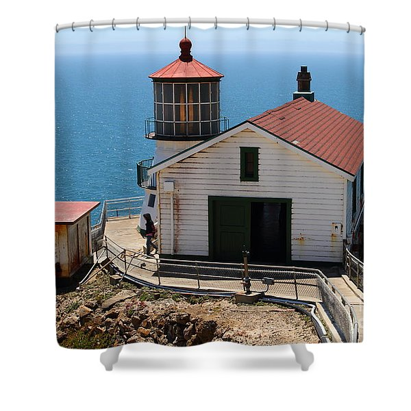 Point Reyes Lighthouse In California 7d15997 Shower Curtain by Wingsdomain Art and Photography