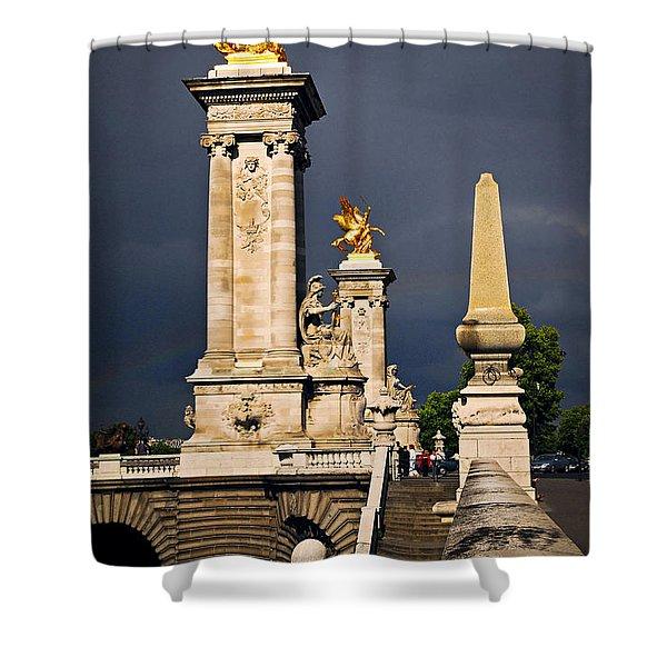 Pont Alexander III in Paris before storm Shower Curtain by Elena Elisseeva