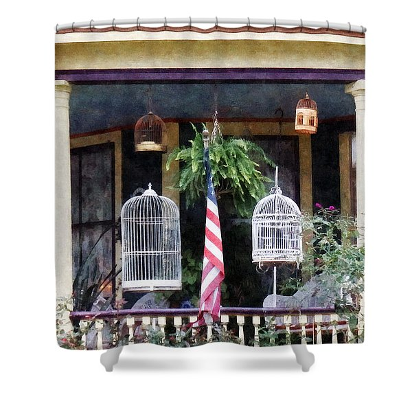 Porch With Bird Cages Shower Curtain by Susan Savad