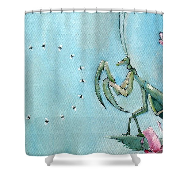 Praying Mantis And Flies In Circle Shower Curtain by Fabrizio Cassetta