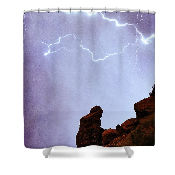 Praying Monk Camelback Mountain Paradise Valley Lightning  Storm Shower Curtain by James BO  Insogna