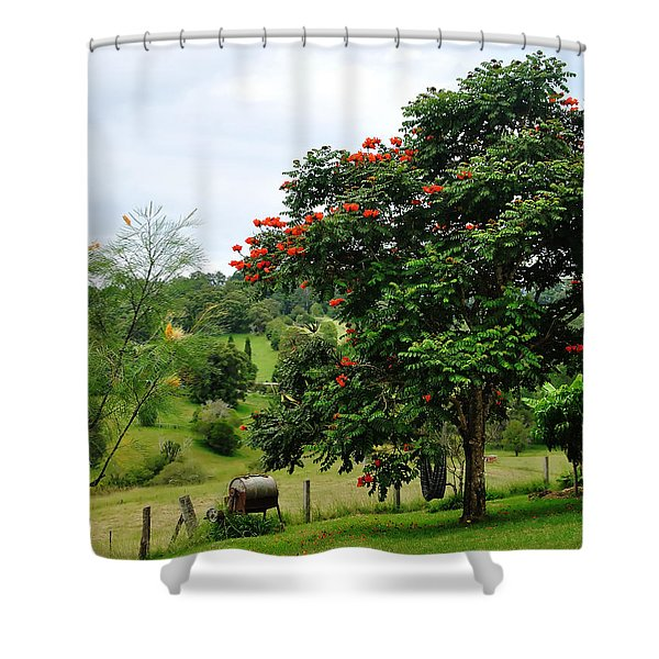 Pretty Countryside Shower Curtain by Kaye Menner