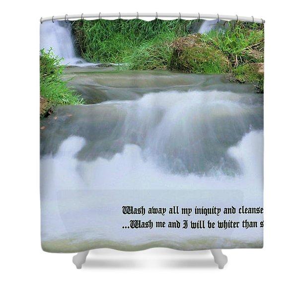 Psalm 51 2 Shower Curtain by Kristin Elmquist