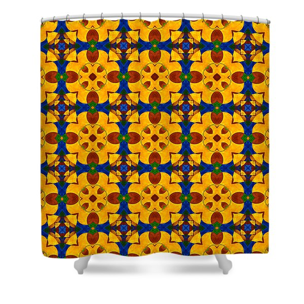 Quadrichrome 13 Symmetry Shower Curtain by Hakon Soreide