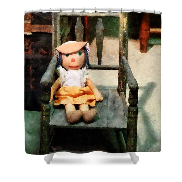Rag Doll in Chair Shower Curtain by Susan Savad