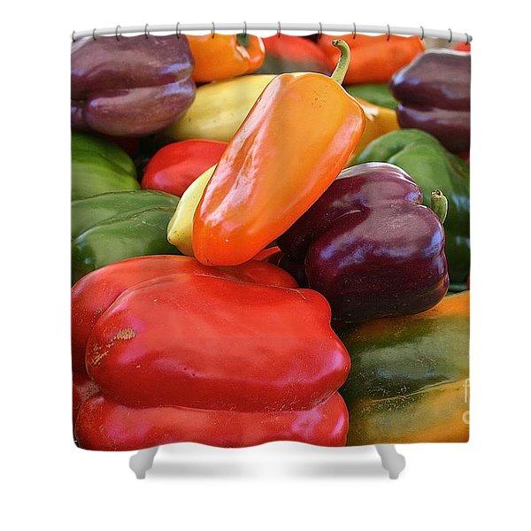 Rainbow Bells Shower Curtain by Susan Herber