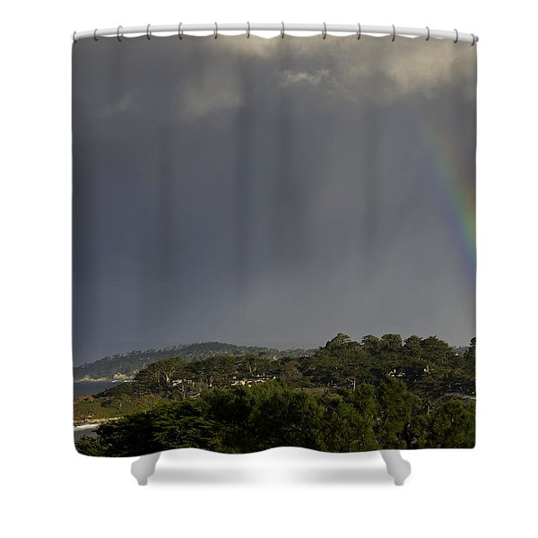 Rainbow Over Carmel Shower Curtain by Mike Herdering